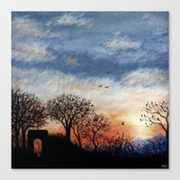 Winter Silhouette Sunset Canvas Print