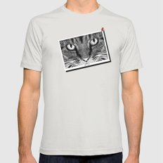 THE CAT Mens Fitted Tee Silver SMALL