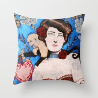 Augusta -- The Tattooed Lady Throw Pillow
