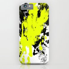Surprise! Black and yellow abstract paint splat artwork iPhone 6 Slim Case