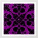 Purple Gothic Fractal Heart Pattern Art Print