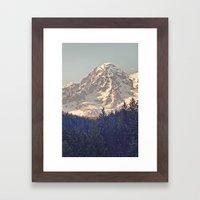 Mount Rainier Retro Framed Art Print