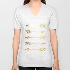 Faux gold foil arrows Unisex V-Neck