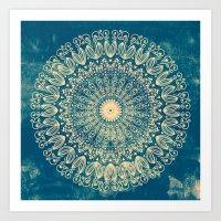 BLUE ORGANIC MANDALA Art Print