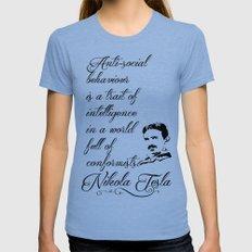 Nikola Tesla - Anti-soci… Womens Fitted Tee Tri-Blue SMALL