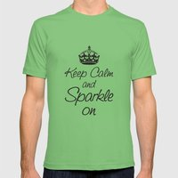 Keep Calm and Sparkle On Mens Fitted Tee Grass SMALL
