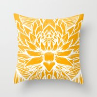 Golden Yellow Lotus Throw Pillow
