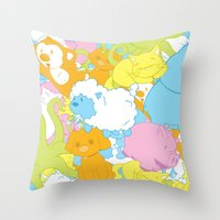 Animal March! Throw Pillow