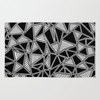 Abstract Outline Lines Black Rug