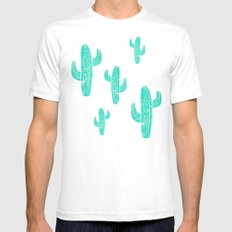 Linocut Cacti Candy Mens Fitted Tee White SMALL