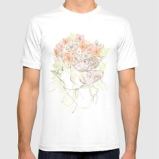 There's a Feeling In My Chest That Wants to Glide Like Leaves, and Set Like Fires 1/2 Mens Fitted Tee White SMALL