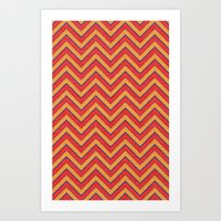 Chevron - Blue|Orange|Red Art Print