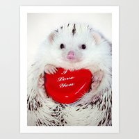 Hedgehog Valentine's Day card (request) Art Print