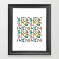 Pattern Project #14 / Bunny Faces Framed Art Print