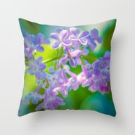 Purple Lilac Flowers Throw Pillow