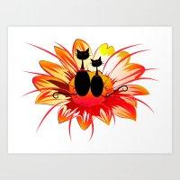 FlowerCats Art Print