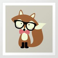 Glasses and Bow Tie Hipster Brown Fox Art Print