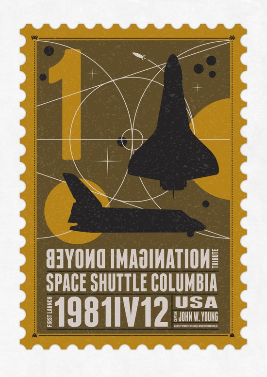 Beyond imagination: Space Shuttle postage stamp Art Print