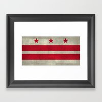 Washington D.C flag with worn stone marbled patina Framed Art Print
