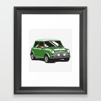 Mini Cooper Car - British Racing Green Framed Art Print