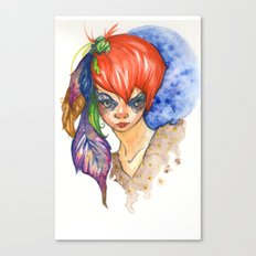 red head and feathers Canvas Print