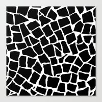 Mosaic Zoom Black and White Canvas Print