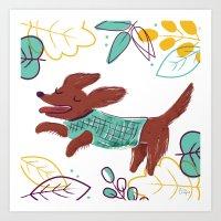 Happy Fall, Dogs! (Ginge… Art Print