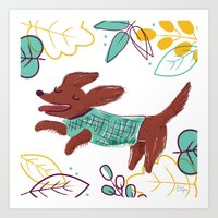 Happy Fall, Dogs! (Ginger) Art Print