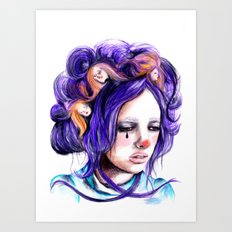Dolls in her hair, Forest of Dolls Collection Art Print