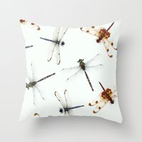 dragonfly pattern Throw Pillow