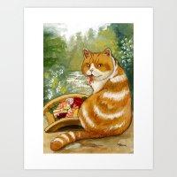 Sushi Cat Misty Bridge Art Print