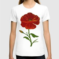 Red Poppy Womens Fitted Tee White SMALL
