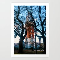 Building with Clock in Buenos Aires Art Print