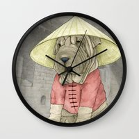 Shar Pei on the Great Wall Wall Clock