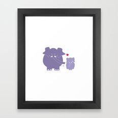 Mama and Baby Elephant Framed Art Print