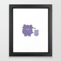 Mama and Baby Elephant Framed Art Print