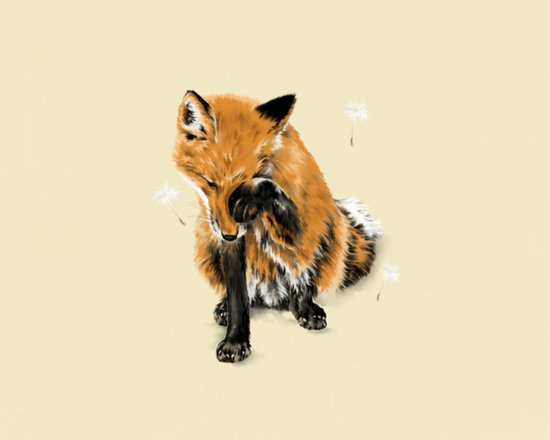 Fox and Dandelion Art Print