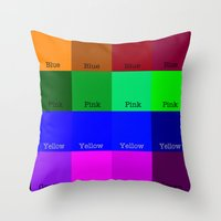 Blue, Pink, Yellow, Gree… Throw Pillow