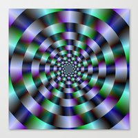 Rings Of Green Blue And … Canvas Print