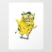 Tiger Skater. Tiger art, tiger print, illustration, pattern, skateboarding, skater, skateboard print Art Print