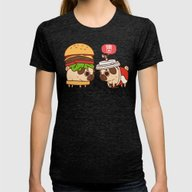 Puglie Burger And Cola Womens Fitted Tee Tri-Black SMALL