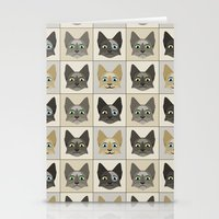 Anime Cat Faces Pattern Stationery Cards
