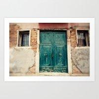 Turquoise Door in Venice Art Print