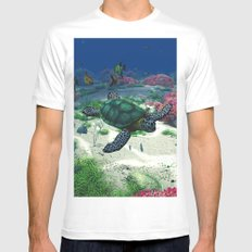 Sea Turtle SMALL Mens Fitted Tee White