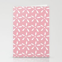 White flowers on pink Stationery Cards