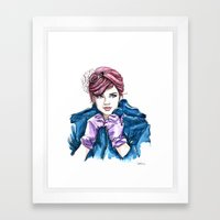 Girl With The Purple Glo… Framed Art Print
