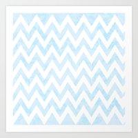 Floral Blue Chevron Patt… Art Print