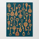Yellow and Red Skeleton Key Pattern Canvas Print