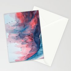Watercolor shadow red & blue, abstract texture Stationery Cards