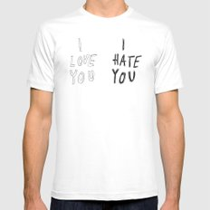 I LOVE YOU \ I HATE YOU White Mens Fitted Tee SMALL